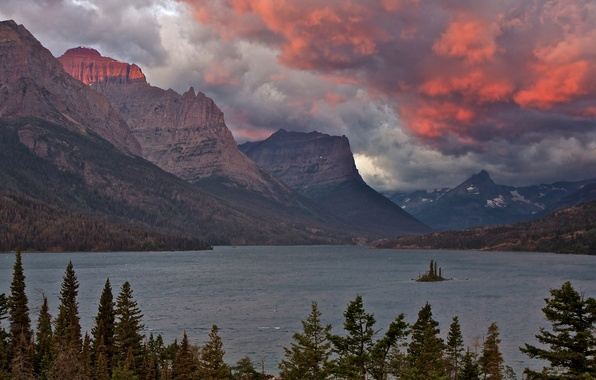 Picture forest, the sky, clouds, sunset, mountains, lake