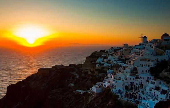 Picture sunset, coast, Santorini, Greece, Santorini, Oia, Greece, The Aegean sea