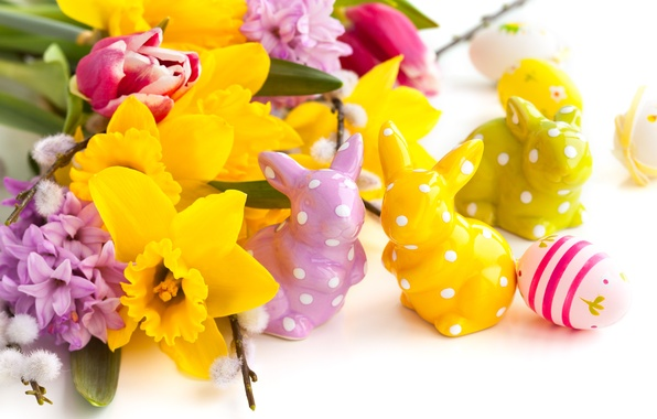 Picture flowers, holiday, eggs, spring, Easter, rabbits, tulips, lilac, daffodils, Easter, figurines, Easter
