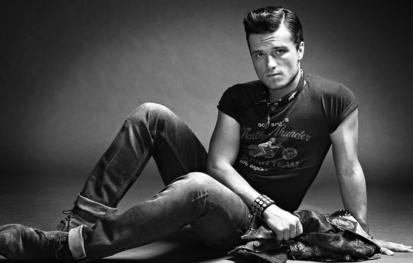 Picture photo, jeans, jacket, t-shirt, actor, black and white, journal, sitting, on the floor, photoshoot, Josh …