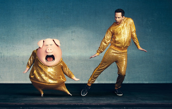 Picture music, cinema, yellow, man, movie, film, animated film, pig, animated movie, Sing