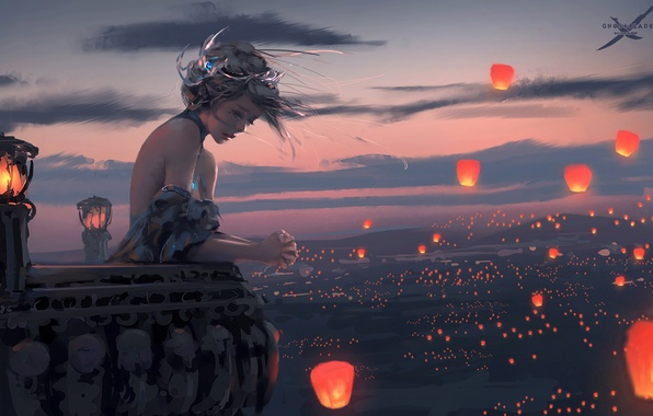 Picture girl, sunset, the wind, lights, balcony, art, wlop
