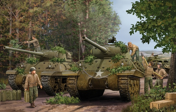 Picture gun, art, tank, USA, game, the, installation, Jackson, self-propelled, artillery, SAU, the crew, Sherman, caliber, …