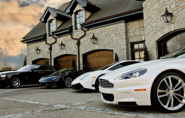 Picture white, black, the building, Aston Martin, house, white, gallardo, Aston martin, lamborghini, black, ghost, Lamborghini, …