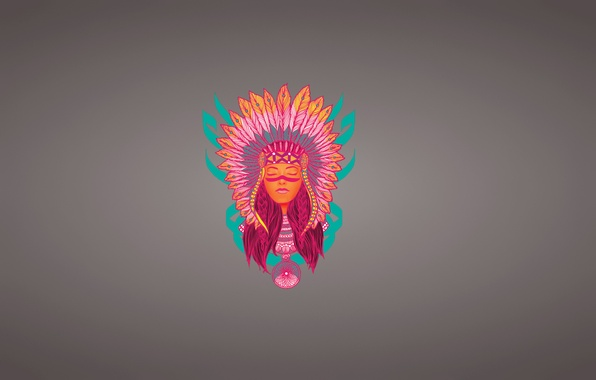 Picture girl, face, minimalism, feathers, Indian, indian, Dreamcatcher, Indian