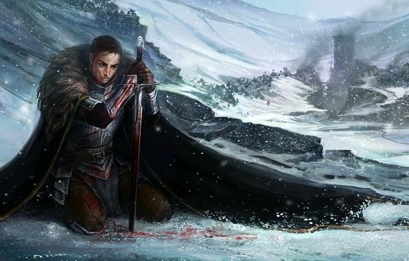 Picture blood, sword, armor, Warrior, cloak