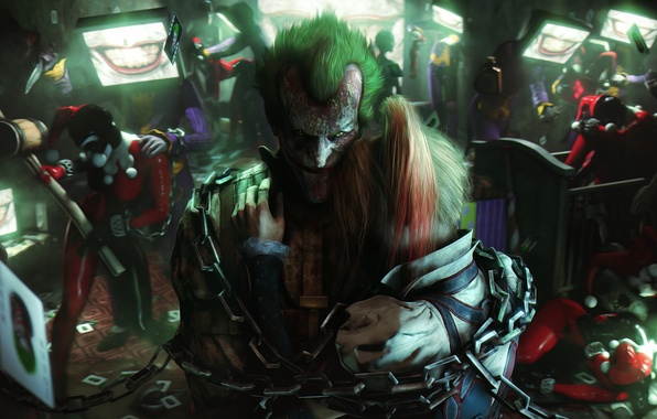 Picture girl, smile, batman, villain, chain, joker, harley quinn, harley
