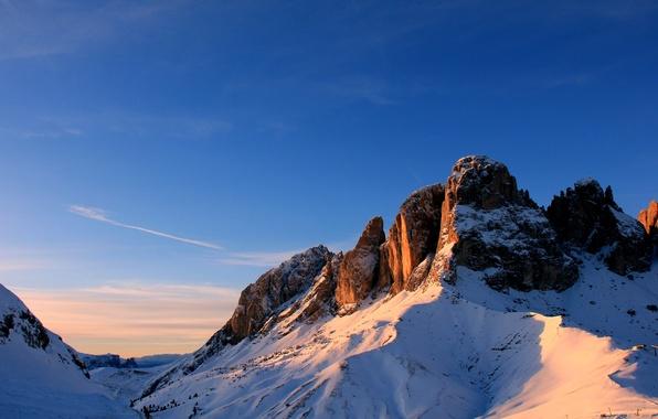 Picture snow, mountains, top, Trentino-Alto Adige, Campitello di Fassa