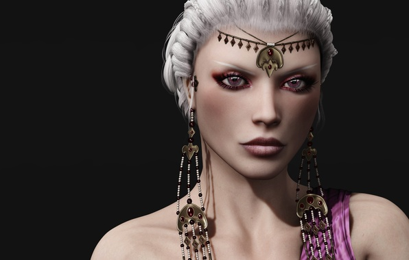 Picture girl, rendering, Daenerys Targaryen, white hair. jewelry. look