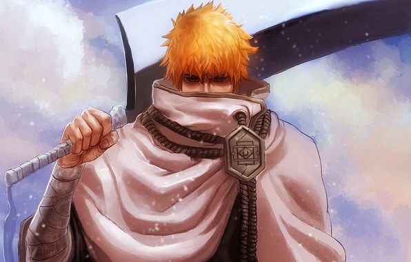 Picture sword, anime, guy, bleach, Ichigo Kurosaki, blonde, shinigami