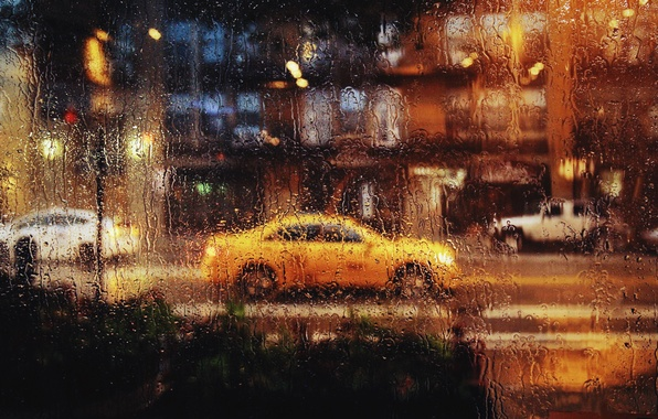 Picture glass, drops, the city, rain, Chicago