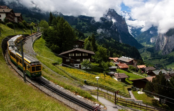 Picture clouds, trees, mountains, train, home, Switzerland, valley, slope, railroad, gorge, Lauterbrunnen