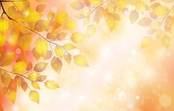 Picture autumn, leaves, bubbles, sprig, bubbles, autumn, leaves, twigs, glitter, gloss