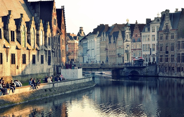 Picture water, bridge, the city, reflection, Windows, building, home, channel, Belgium, Ghent