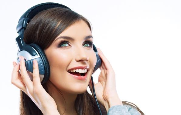 Picture joy, face, smile, music, mood, headphones