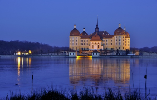 Picture water, light, lights, reflection, castle, the evening, Germany, Saxony, Moritzburg