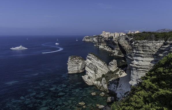 Picture sea, rocks, coast, France, yachts, France, Corsica, The Mediterranean sea, Mediterranean Sea, Corsica, Boniface, Bonifacio