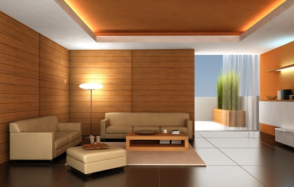 Picture room, sofa, tree, Design, lamp, floor, table, apartments, Interior