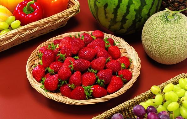 Picture berries, watermelon, strawberry, grapes, fruit, still life, vegetables, melon, paprika