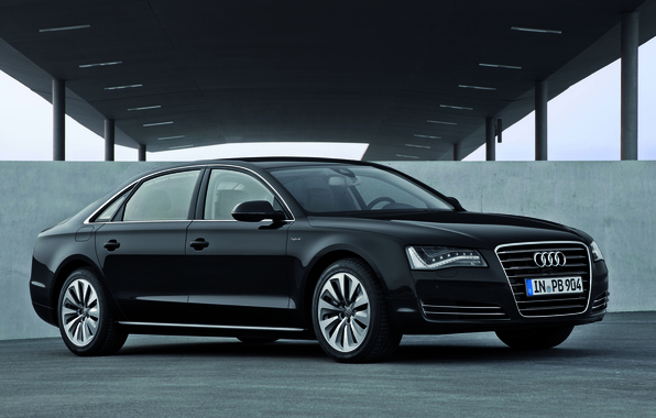 Picture Audi, Black, Sedan, Black, A8L, The front