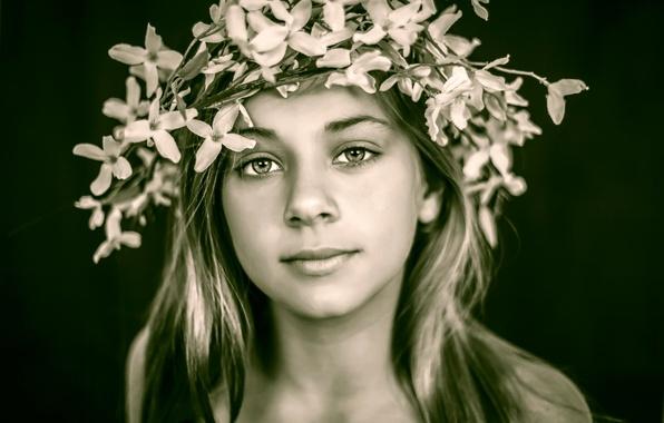 Picture look, portrait, girl, wreath, Casey