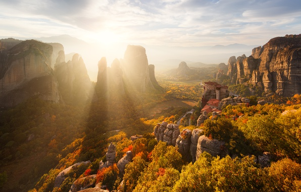 Picture autumn, the sun, light, mountains, rocks, Greece, Meteors