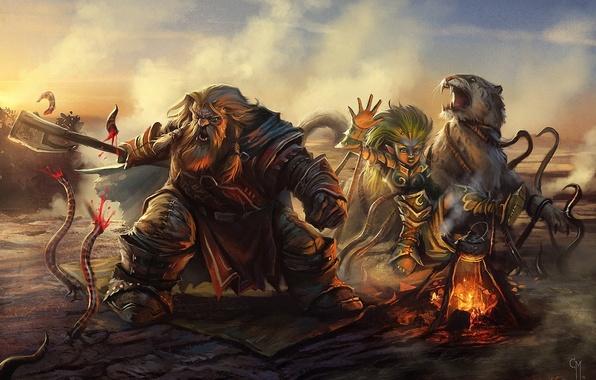 Picture cat, girl, tiger, smoke, the fire, art, attack, dwarf, axe, worms, halt, Land of Fallen …