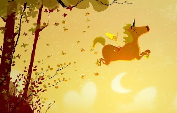 Picture girl, trees, joy, birds, fantasy, unicorn, flight