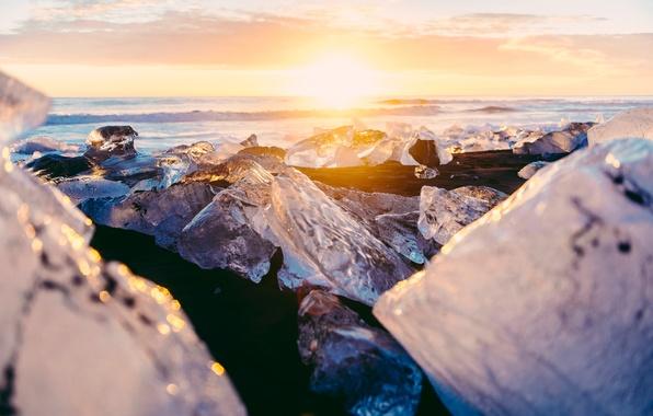 Picture winter, the sun, light, glare, ice, Iceland, bokeh, December, the glacial lagoon of Jökulsárlón