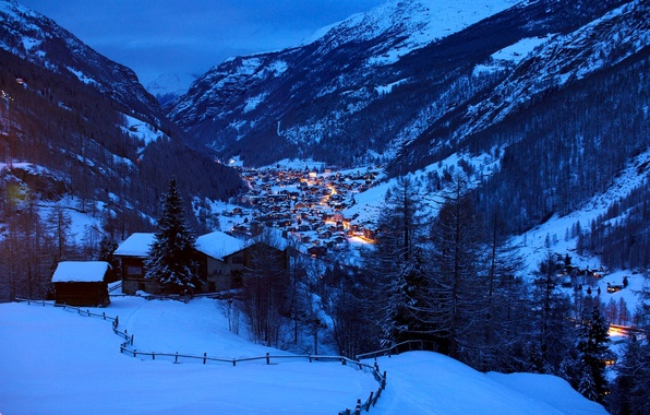 Picture winter, light, snow, landscape, mountains, nature, hills, home, the evening, Switzerland, Alps, houses, Switzerland, Alpes, …