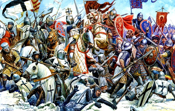 Picture water, figure, ice, armor, horse, swords, knights, shields, axes, the Germans, spears, banners, vigilantes, cleats, …