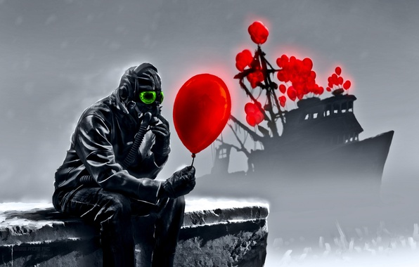 Picture balls, people, ship, gas mask, romantically apocalyptic