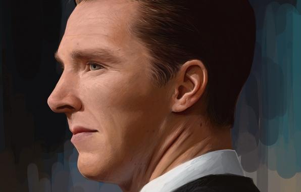 Picture face, figure, portrait, art, actor, profile, Benedict Cumberbatch, Benedict Cumberbatch