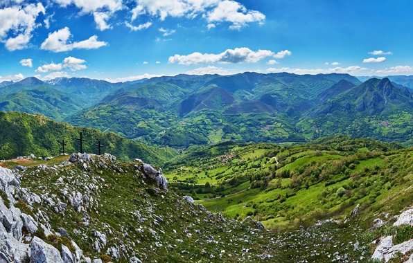 Picture the sky, clouds, mountains, stones, field, valley, panorama, Spain, forest, Quiros