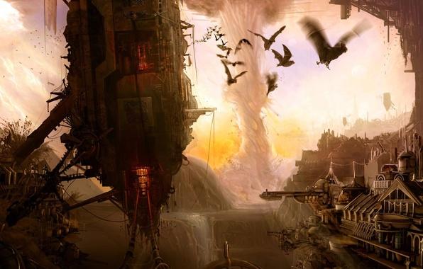 Picture the city, tornado, destruction, mouse, volatile