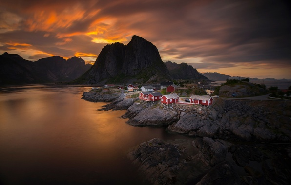 Picture sea, the sky, clouds, sunset, mountains, home, the evening, Norway, the village