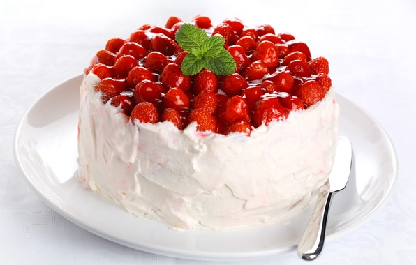 Picture food, cream, strawberry, cake, cream, dessert, cakes, sweet