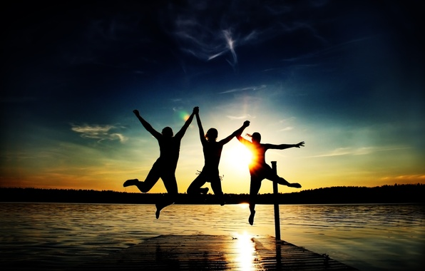 Picture beach, summer, the sun, joy, sunset, lake, people, jump, stay, mood, the evening, three, mood