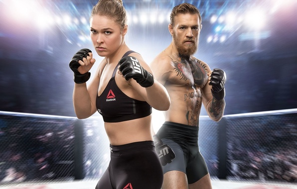 Picture girl, guy, the ring, fighters, the audience, Electronic Arts, Ronda Rousey, Rhonda Rauzi, Conor McGregor, …