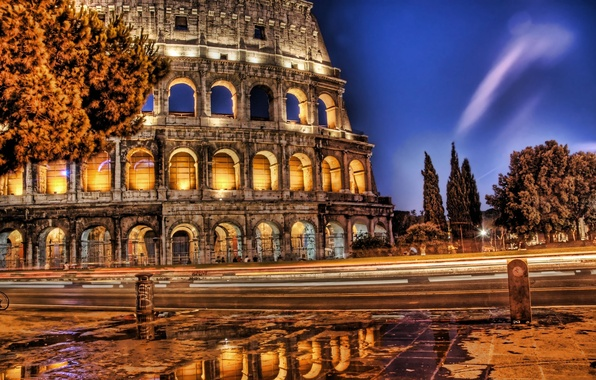 Picture The evening, Road, Colosseum