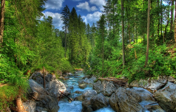 Picture forest, landscape, nature, river, stones, photo, HDR, Germany, Bayern, Ramsau
