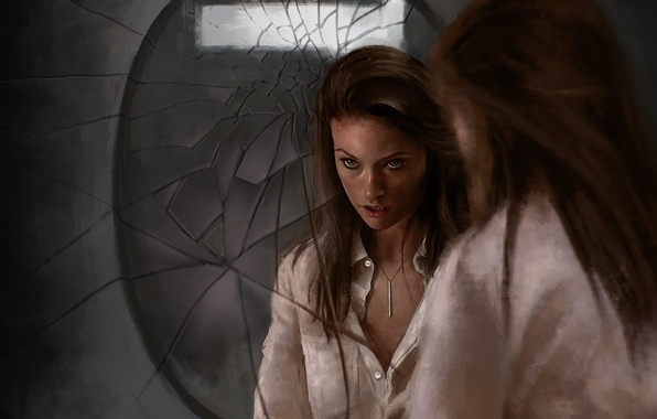 Picture girl, reflection, actress, mirror, Olivia Wilde
