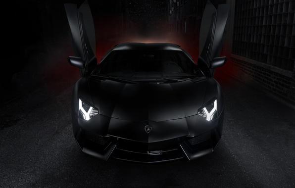 Picture Lamborghini, black, Lamborghini, open doors, front, LP700-4, Aventador, aventador, guillotine, LB834, Lambo doors