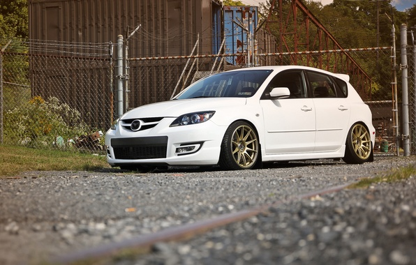 Picture tuning, white, Speed, Mazda 3, tuning, Mazda