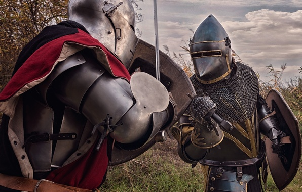 Picture metal, background, armor, swords, knights, shields, the fight, hats