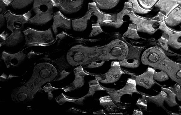 Picture bike, black and white, chain, gear