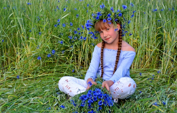 Picture summer, look, flowers, portrait, girl