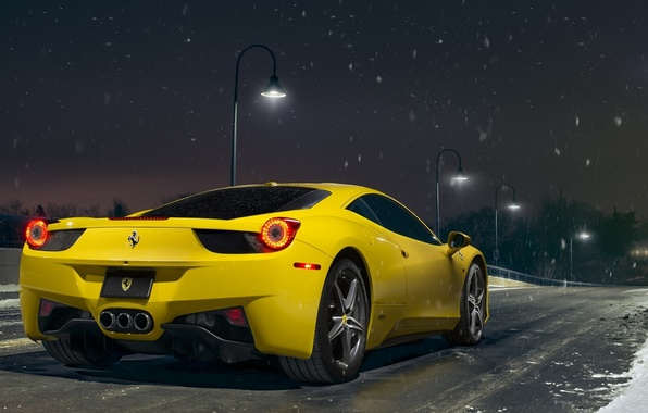Picture Ferrari, 458, Snow, Yellow, Italia, Road, Supercar, Rear, Ligth, Nigth