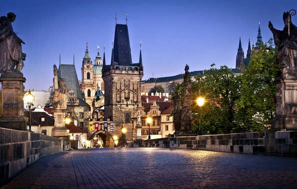 Picture trees, bridge, the city, lights, building, the evening, pavers, Prague, Czech Republic, lighting, lights, sculpture, …