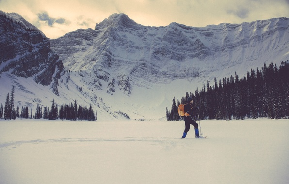 Picture winter, snow, trees, mountains, hat, people, male, backpack
